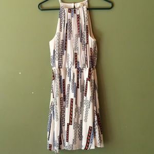 Fun print mini dress with small keyhole back.